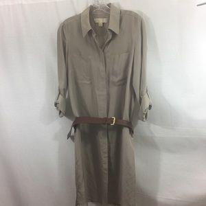 Michael Kors Silk Shirt Dress w Leather Belt S Sm